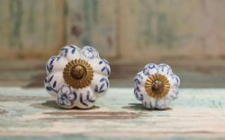 Painted Porcelain Door Knobs - Blue - <b>Out of Stock<b>